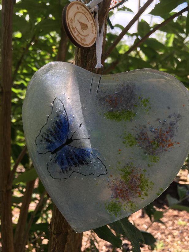 Fused Glass Heart with Blue Butterfly