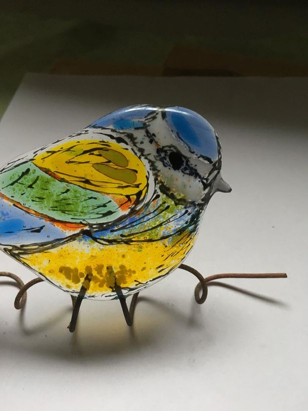 Blue Tit Sculpture- with copper legs/ties