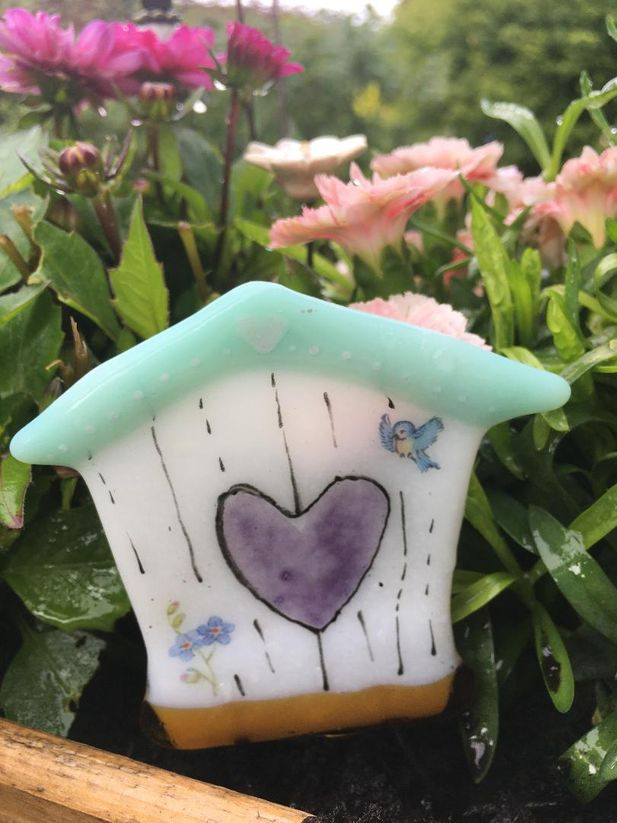 Medium Bird House Garden Stake Decoration~white