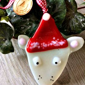 Handmade Glass Christmas Mouse Decoration
