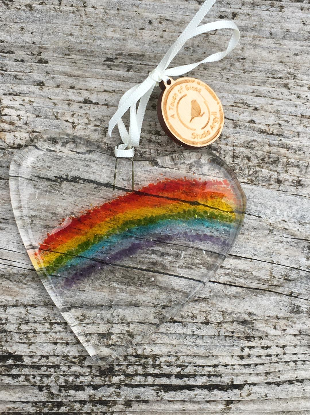 Fused Glass Rainbow of Hope Heart Decoration