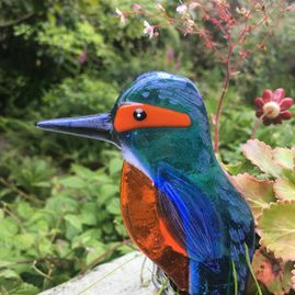 Fused Glass Hanging Kingfisher Decoration