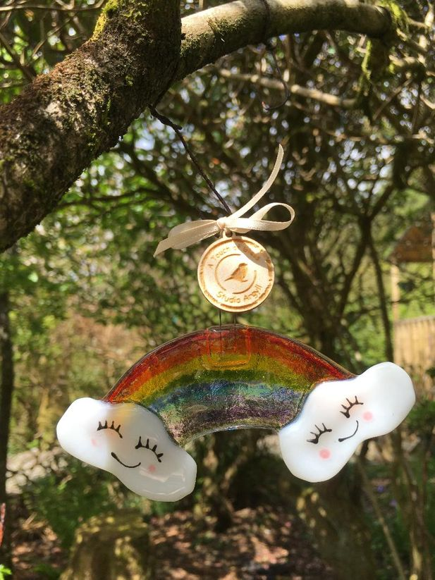 Rainbow of Hope Fused Glass Decoration