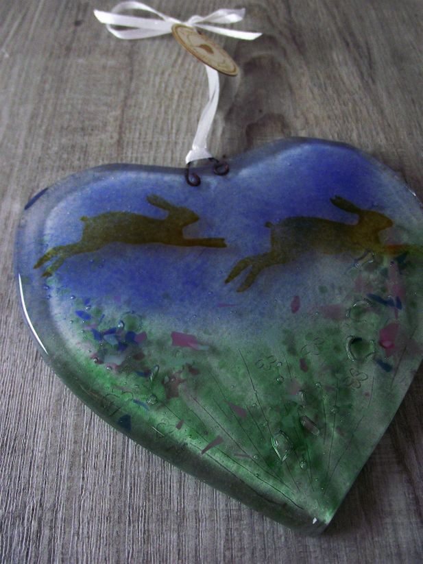 Fused Glass Heart with Hopping Hares