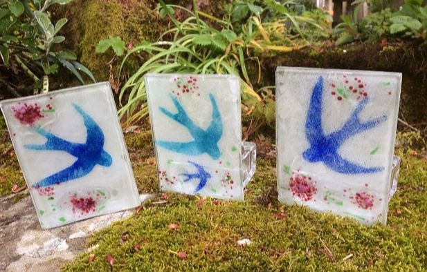Fused Glass Swallow Tea light Candle Holder