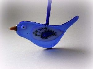 Blue Fused Glass Bird Decoration