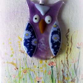 Purple Glass Owl Decoration