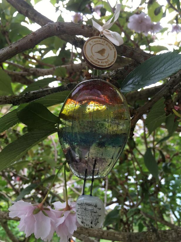 Rainbow Hot Air Balloon Decorative Glass Hanger