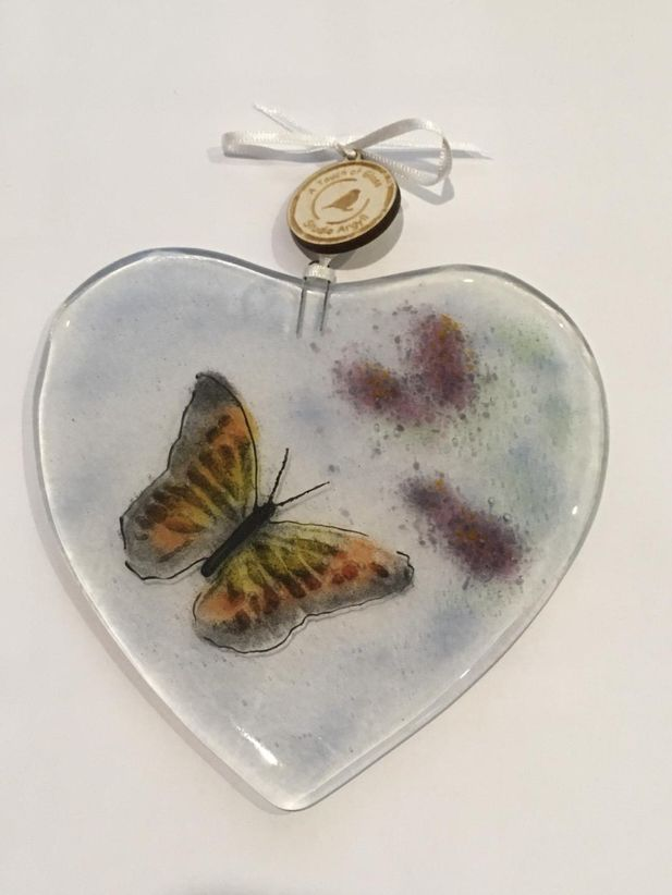 Fused Glass Heart with Orange Butterfly