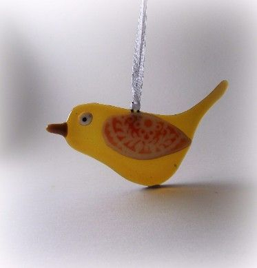 Amber Bird Glass Hanger