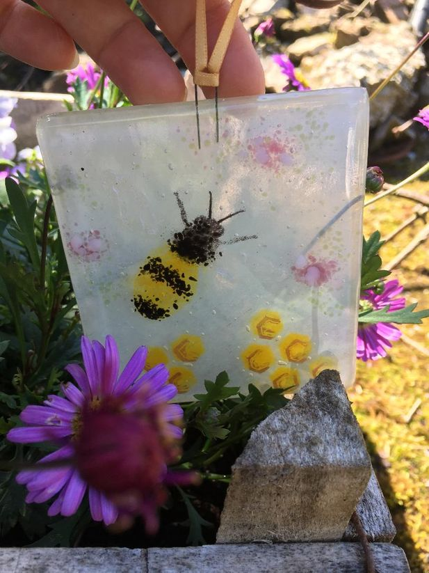 Fused Glass Little Hanger With Bee and Honeycomb Detail