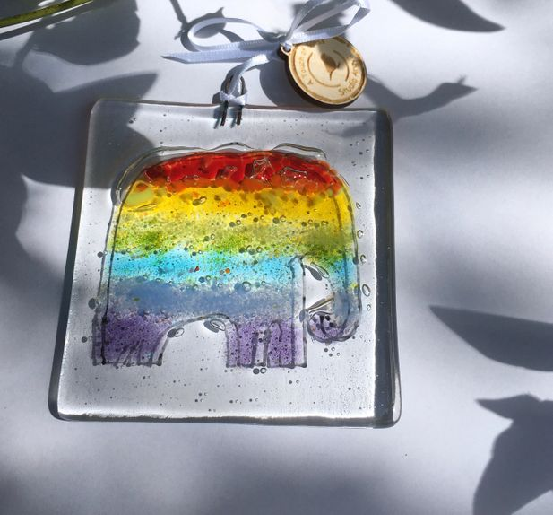 Rainbow Elephant of Hope Glass Decoration