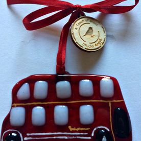 London Bus Glass Christmas Decoration