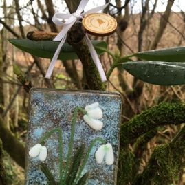 ​Fused Glass Snowdrops Hanging Decoration