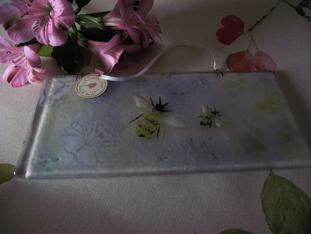 Bumble Bee Fused Glass Hanger.