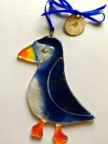 ​Fused Glass Puffin Decorative Hanger