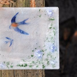 Fused Glass Swallow Platter 'Swooping Swallows'