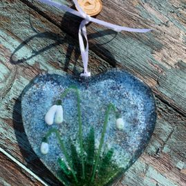 Snowdrop Heart Fused Glass Decoration