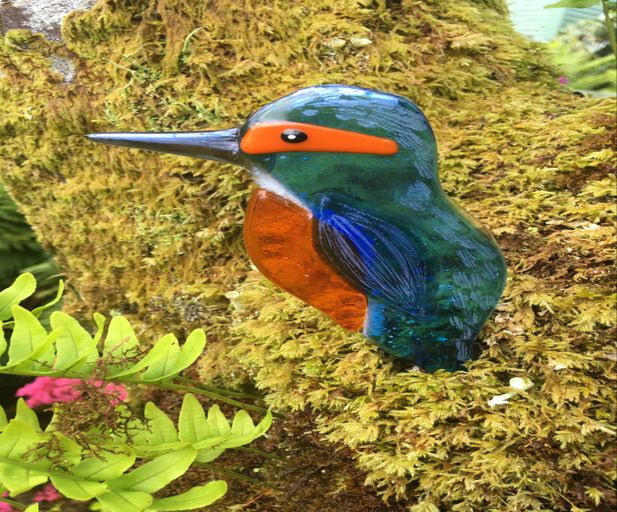 Fused Glass Kingfisher Garden Stake., Glass Art Argyll
