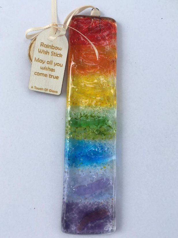 Rainbow Wish stick Glass Decoration