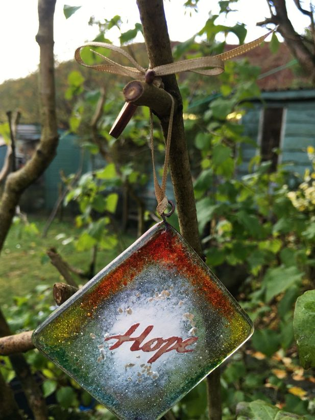 Hope Fused Glass Christmas Decoration