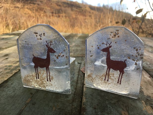 Little Stag in the snow candle holder