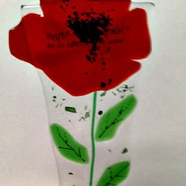 Fused Glass Poppy Garden Decorative Stake