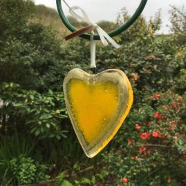 Fused Glass Yellow Love For The Lost Decoration