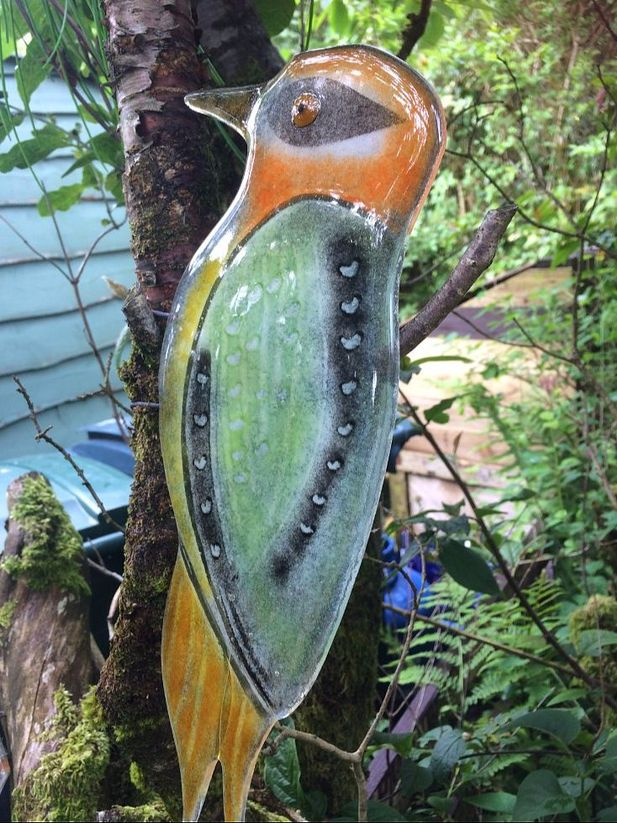 Glass Woodpecker Garden Sculpture