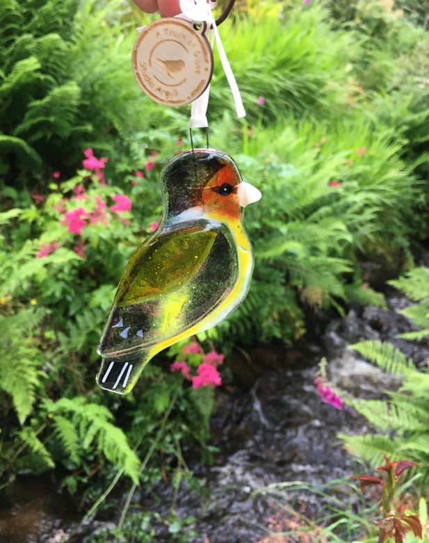 Goldfinch fused glass bird, garden ornament, suncatcher,
