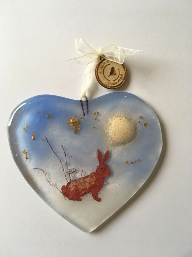 Fused Glass Heart with Winter Moon Hare Decorative Hanger
