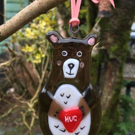 ​Bear Hugs Fused Glass Decorative Hanger