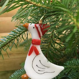 Christmas Goose Glass Decoration