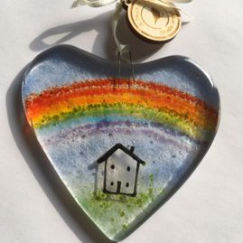 Fused Glass Stay At Home Rainbow Heart