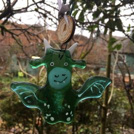 Cute Little Fused Glass Dragon Decoration