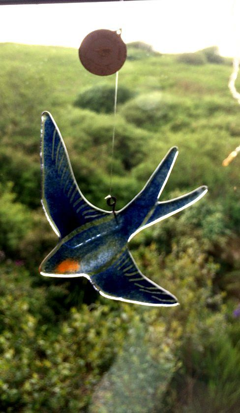 Glass Swallow Decorative Hanger