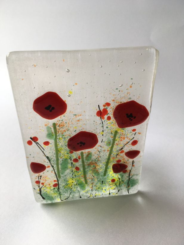 Poppy Fused Glass Candle Holder/ Tealight