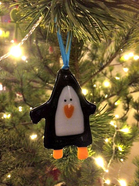 Handmade Glass Penguin Christmas Decoration