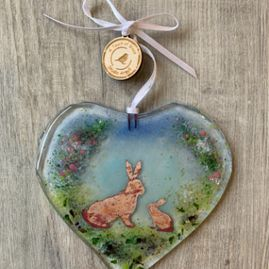 Spring Hares Fused Glass Decoration