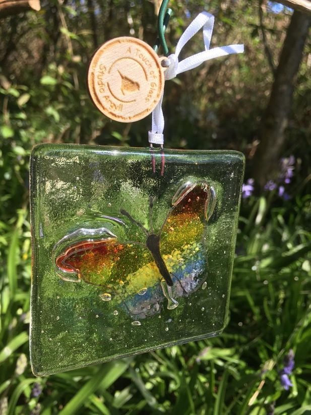 Wings Of Hope Butterfly Hanging Fused Glass Decoration