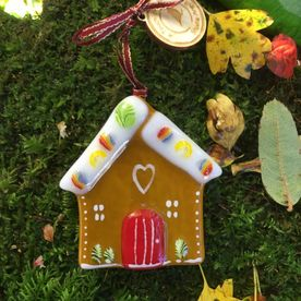 Gingerbread house Fused Glass Decoration