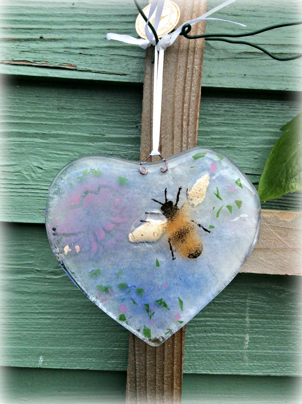 Fused Glass Heart with Bumble Bee detail