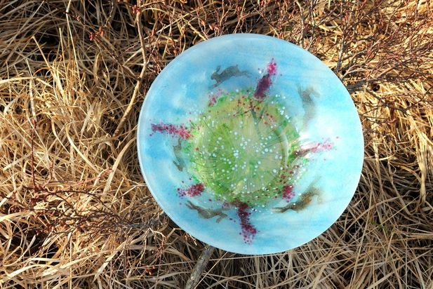 Hopping Hares Glass Bowl
