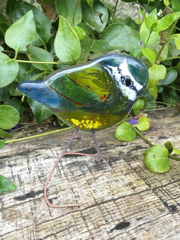 Blue Tit Fused Glass Art Sculpture- with copper legs/ties