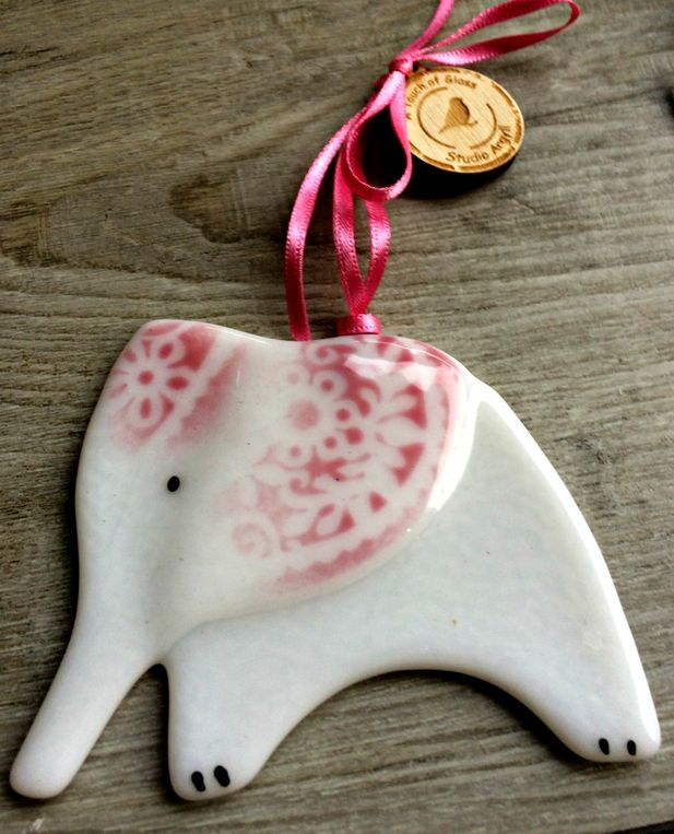 Handmade fused glass elephant hanger, decoration, sun catcher