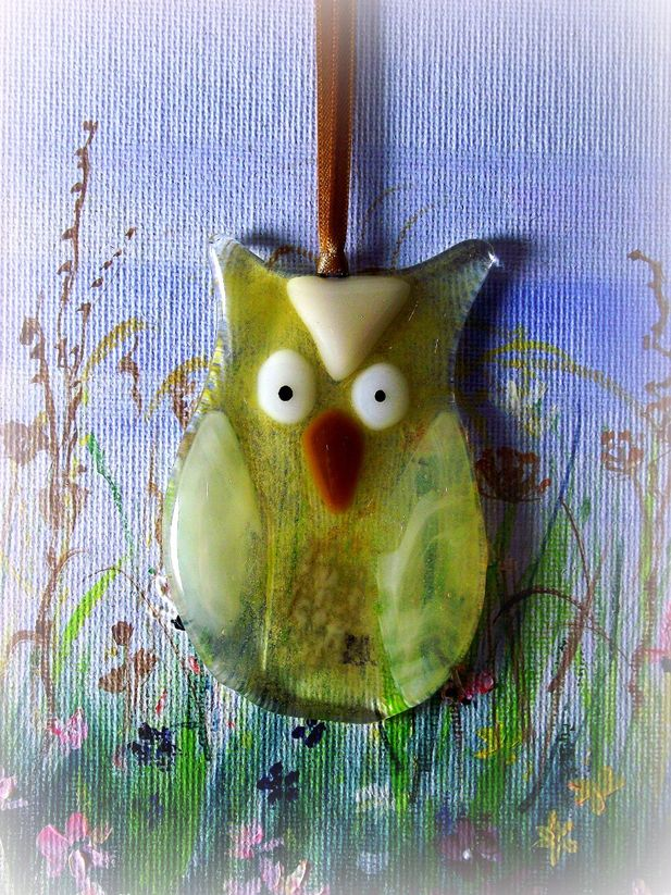 Amber Owl Glass Decoration