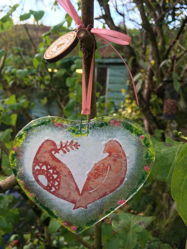 Two Turtle Doves Fused Glass Decoration, 12 days of Christmas