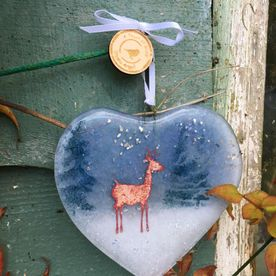 Fused Glass Winter Stag Heart Decoration