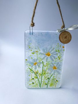 Fused Glass Daisy Hanging Picture